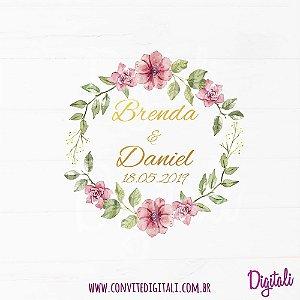 Brasão Casamento Florido Rosa Marsala - Arte Digital