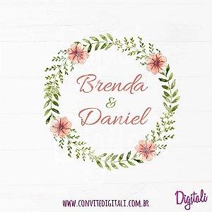 Brasão Casamento Florido Coral e Verde - Arte Digital