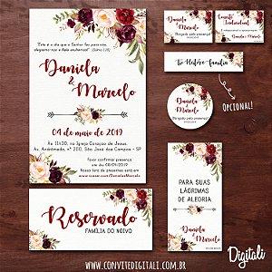 Identidade Visual Casamento Florido Marsala - Arte Digital