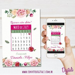 Save The Date Rosa Florido - Arte Digital