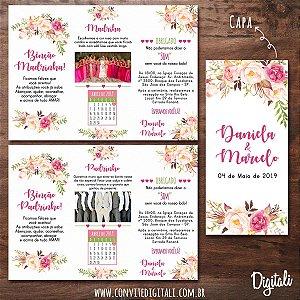 Manual para Padrinhos Casamento Rosa Florido - Arte Digital