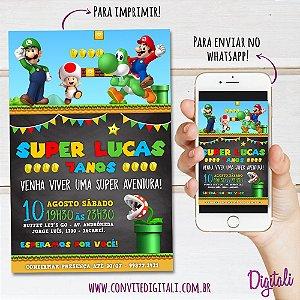 Convite Super Mario Bros Chalkboard - Arte Digital