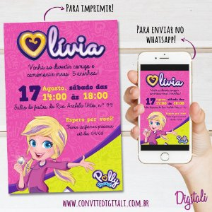Convite Polly Pocket - Arte Digital