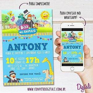Convite Mundo Bita e os Animais - Arte Digital