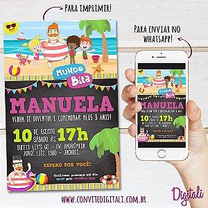 Convite Mundo Bita Praia Chalkboard Lousa - Arte Digital
