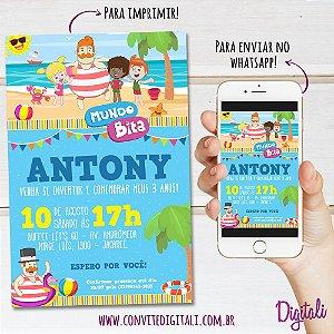 Convite Mundo Bita Praia - Arte Digital
