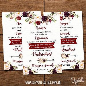 Convite Padrinhos Casamento Marsala - Arte Digital
