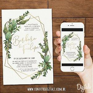 Convite Casamento Greenery - Arte Digital