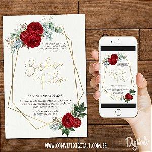 Convite Casamento Vermelho Florido - Arte Digital