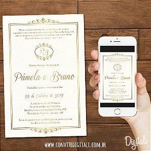 Convite Casamento Clássico - Arte Digital