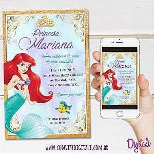 Convite Pequena Sereia - Arte Digital
