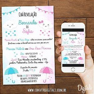 Convite Chá Revelação Chuva de Amor - Arte Digital