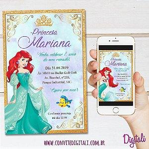 Convite Pequena Sereia Ariel - Arte Digital