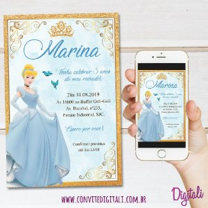 Convite Cinderela - Arte Digital