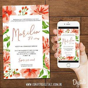 Convite Aniversário Florido Coral e Laranja - Arte Digital