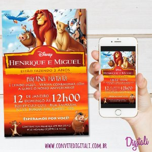 Convite Rei Leão - Arte Digital