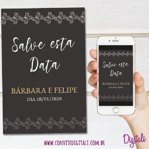 Save The Date Casamento Marrom - Arte Digital