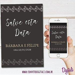 Save The Date Casamento Marrom - Arte Digital