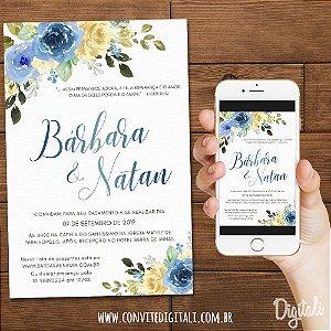 Convite Florido Azul - Arte Digital
