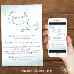 Convite Casamento Azul Serenity - Arte Digital