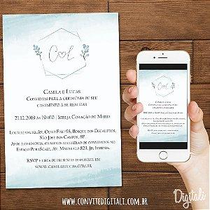 Convite Casamento Azul Serenity com Brasão - Arte Digital