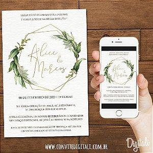 Convite Casamento Folhagem Dourado - Arte Digital