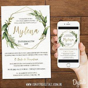 Convite Formatura Folhagem Dourado - Arte Digital