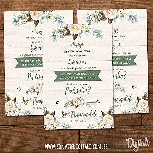 Convite Padrinhos Casamento Rústico Florido - Arte Digital