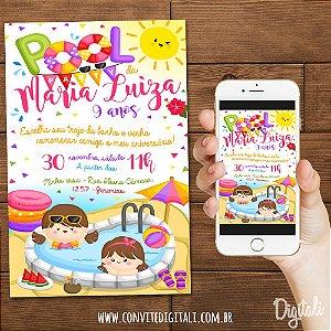 Convite Pool Party Verão Piscina - Arte Digital