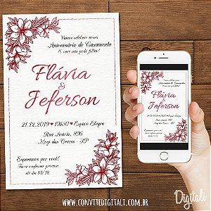 Convite Aniversário de Casamento Marsala - Arte Digital