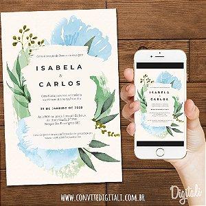 Convite Florido Delicado Aquarela - Arte Digital