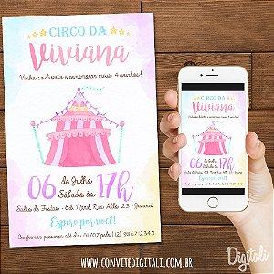 Convite Circo Menina Aquarela - Arte Digital