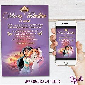 Convite Princesa Jasmine e o Tigre - Arte Digital