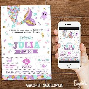Convite Sereia Cauda - Arte Digital