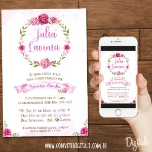 Convite Jardim Rosa Aquarela - Arte Digital