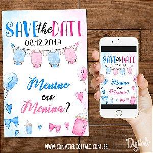 Save The Date Chá Revelação Varal de Roupas - Arte Digital