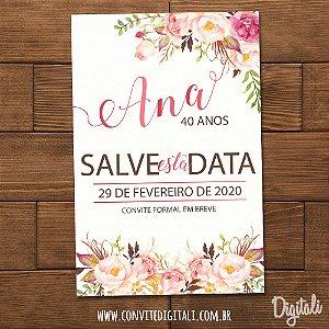Save The Date Aniversário Florido Rosa - Arte Digital
