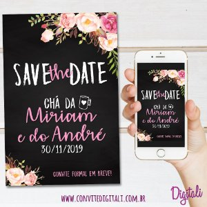 Save the Date Chá de Panela Chalkboard - Arte Digital