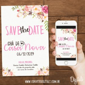 Save the Date Chá de Panela Florido - Arte Digital