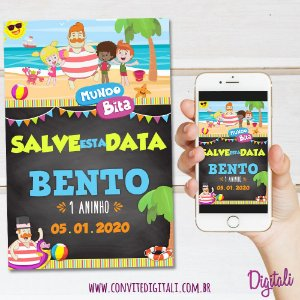 Save the Date Mundo Bita Praia Chalkboard Lousa - Arte Digital