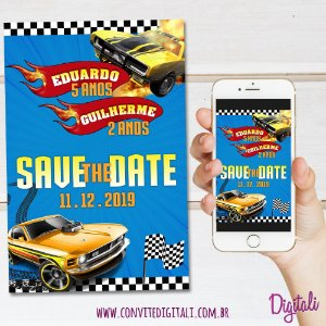 Save the Date Hot Wheels - Arte Digital