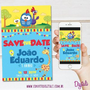 Save the Date Galinha Pintadinha Mini - Arte Digital