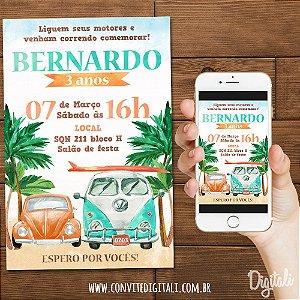Convite Fusca e Kombi Praia Verão - Arte Digital