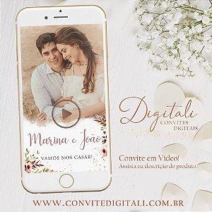 Convite Animado em Vídeo para Casamento Florido com Foto Rosa Rose