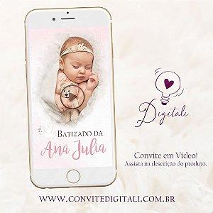 Convite para Batizado Animado em Vídeo com Foto - Rosa