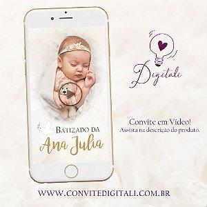 Convite para Batizado Animado em Vídeo com Foto - Dourado