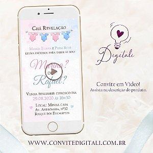 Convite Chá Revelação Animado em Vídeo com Foto - Rosa e Azul