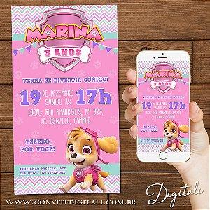 Convite Patrulha Canina Skye Rosa - Arte Digital