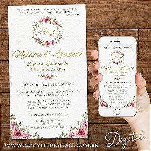 Convite Aniversário de Casamento Florido Aquarela - Arte Digital
