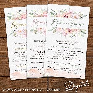 Convite Casamento Rosa Chá com Brasão - Arte Digital
